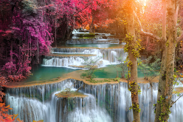 FototapetaHuay Mae Kamin Waterfall, beautiful waterfall in rainforest, Kanchanaburi province, Thailand