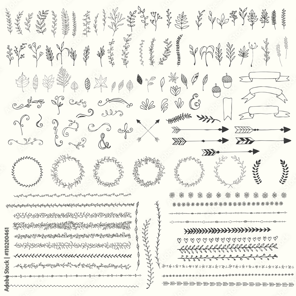 Fototapety, obrazy: Hand drawn vintage leaves, arrows, feathers, wreaths, dividers, ornaments and floral decorative elements, vector illustration