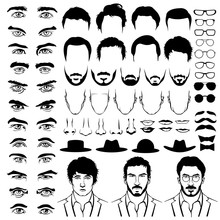 Constructor With Men Hipster Haircuts, Glasses, Beards, Mustaches. Vector Flat Style