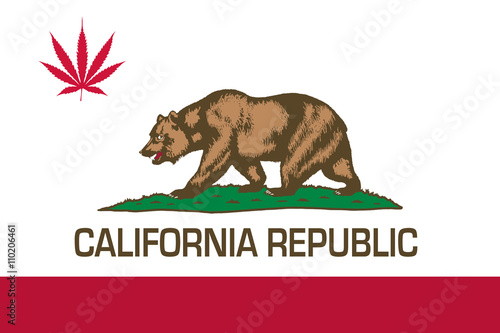 Valokuva  State flag of California with red cannabis leaf