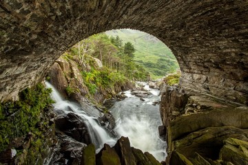 Panel Szklany Podświetlane Wodospad Waterfall in Snowdonia National Park,Wales,United Kingdom