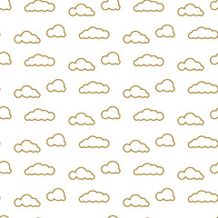 Golden line clouds vector seamless pattern. Dense sky print for textile. Room...