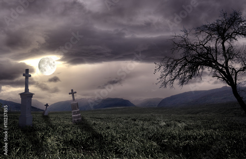 Canvas Print Spooky Halloween graveyard with dark clouds