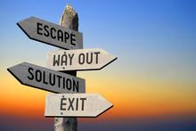 Escape, Way Out, Solution, Exit Signpost