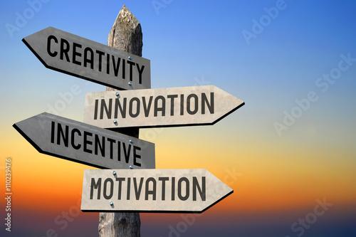 Cuadros en Lienzo La creatividad, la innovación, incentivos, motivación poste indicador