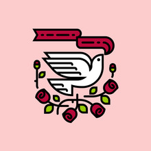 White Dove And Red Roses. Neo Traditional American Tattoo Style Vector Illustration