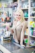 Seller in cosmetic shop
