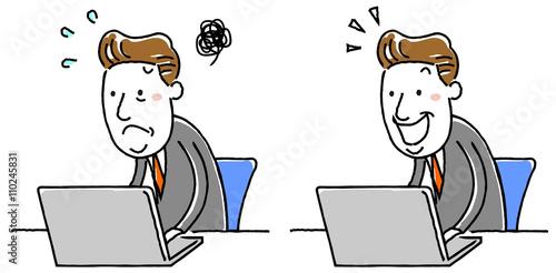 Fotografie, Obraz  イラスト素材:中年ビジネスマン 忙しい パソコン バリエーション