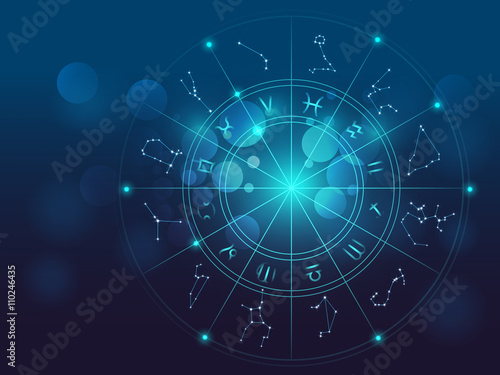 Stampa su Tela Astrology and alchemy sign background vector illustration