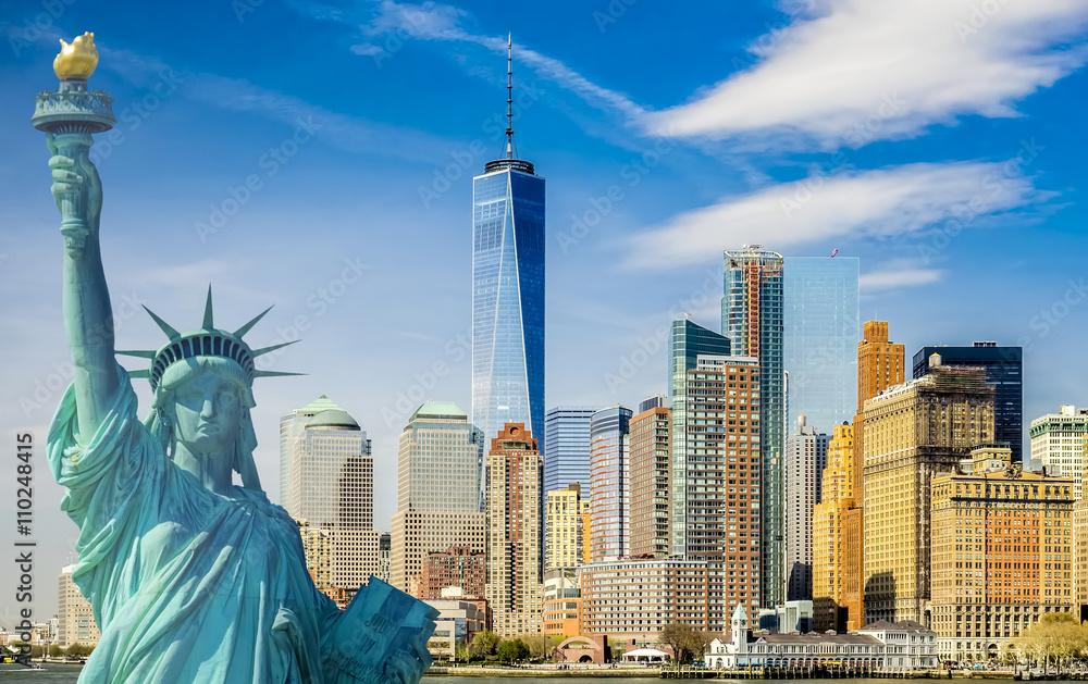 Fototapeta new york cityscape, tourism concept photograph statue of liberty, lower manhattan skyline