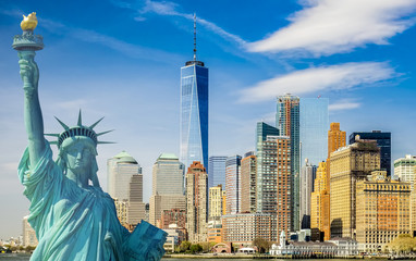 Fototapeta Architektura new york cityscape, tourism concept photograph statue of liberty, lower manhattan skyline