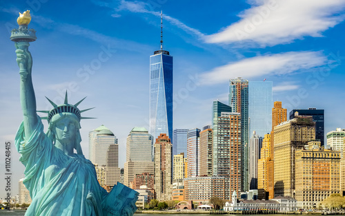 Photo Stands New York City new york cityscape, tourism concept photograph statue of liberty, lower manhattan skyline
