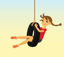 Girl In A Tire Swing