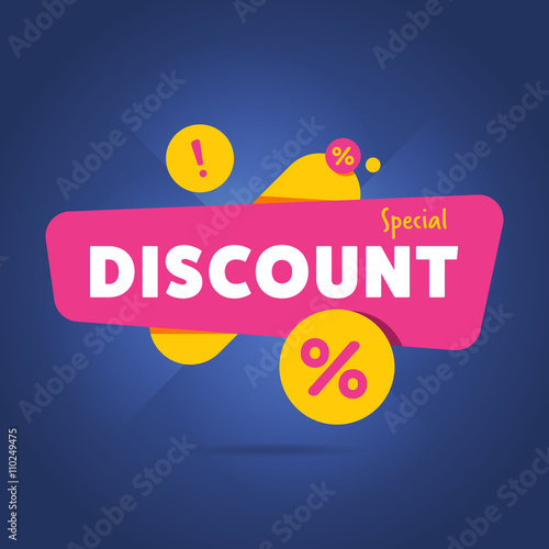 Cuadros en Lienzo Special discount advertisement promo banner flat abstract isolated vector illust