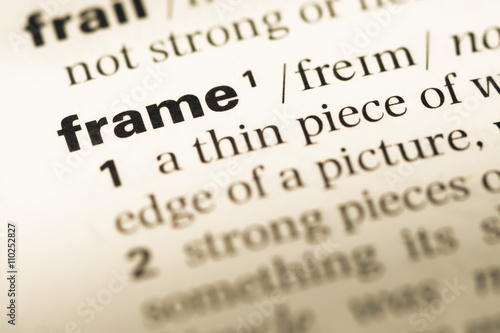 Close up of old English dictionary page with word frame - Buy this ...