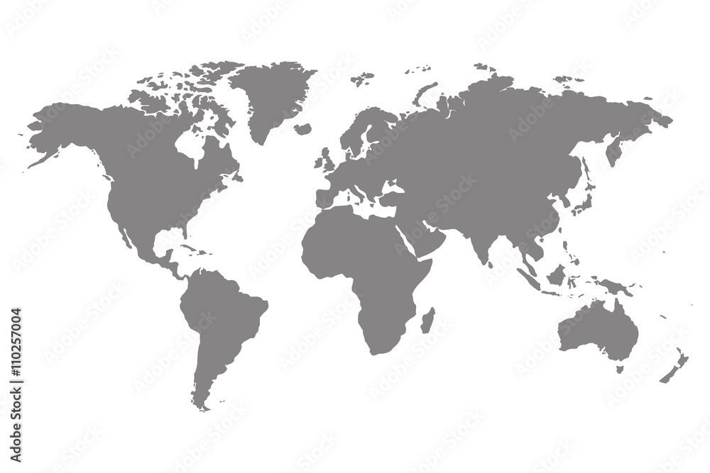 Fototapety, obrazy: Grey blank world map.