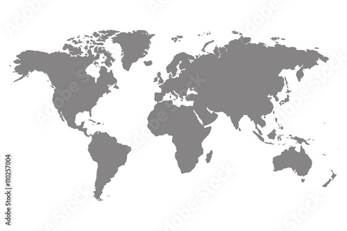 Grey blank world map.