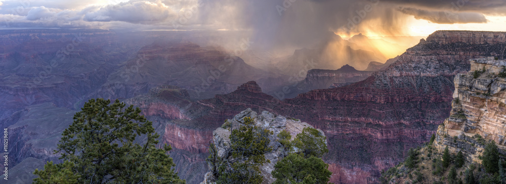 Mather Point Sunrise Snow Squall Panorama