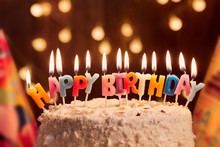 Birthday Cake With Candles, Bright Lights Bokeh.Celebration.