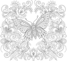 Butterfly and floral ornament. Adult antistress coloring page. Black and white hand drawn doodle for coloring book