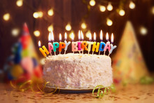 Birthday Cake With Candles, Bright Lights Bokeh.