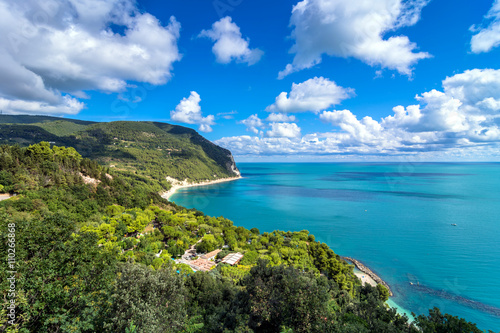 Poster Cote Mount Conero national park coastline in Sirolo, Italy