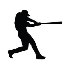 Baseball Player Vector Silhouette. Baseball Batter. Baseball Pla