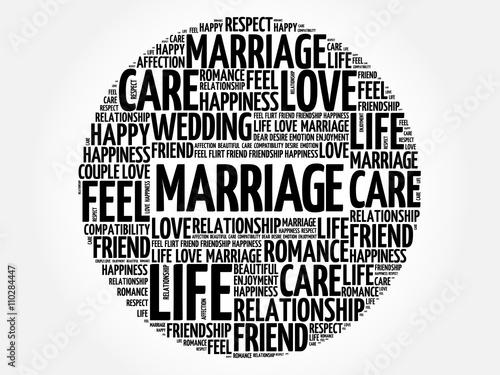 Fotografie, Obraz  Marriage circle word cloud collage concept