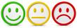 canvas print picture - Die drei Smileys mit verschiedenen Emotionsausdrücken..Ein Gefühl kann positiv, negativ oder neutral sein.