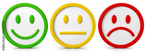 Obraz Die drei Smileys mit verschiedenen Emotionsausdrücken..Ein Gefühl kann positiv, negativ oder neutral sein. - fototapety do salonu