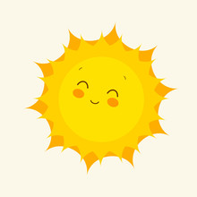 Happy Sun Icon. Vector Illustr...