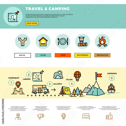 Camping Traveling Tourism Vector Infographic Website Design Template Tourism Travel Website Website Travel And Camping Infographic Trabel Web Illustration Buy This Stock Vector And Explore Similar Vectors At Adobe Stock