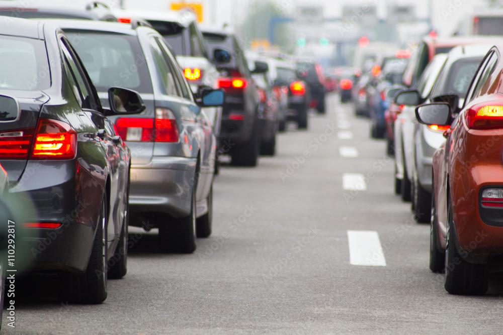 Fototapeta Cars on road highway in traffic jam