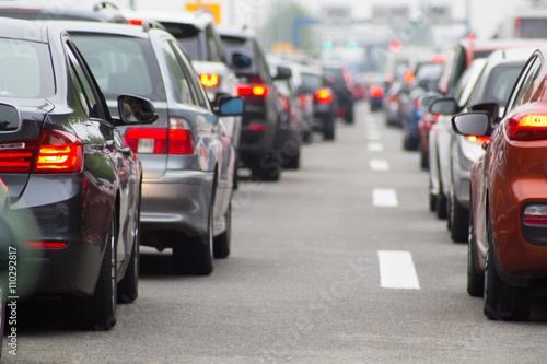 Fotografie, Obraz  Cars on road highway in traffic jam