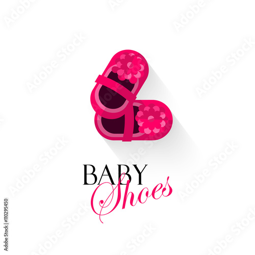 Baby Shoes Vector Illustration Isolated On White Background Pink Shoes For Small Girls Kids Shoes Cartoon Flat Logo Design Banner Poster Or Card Cover Buy This Stock Vector And Explore Similar