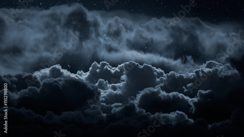 Photo sur Aluminium Nuit Above the clouds at night