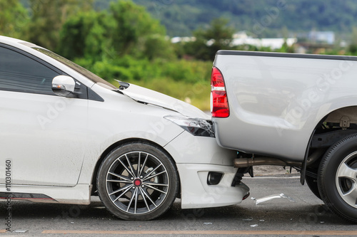 Car accident involving two cars on the street Poster