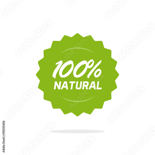 Papel de parede  100 percent natural vector green label isolated on white background, 100 percent