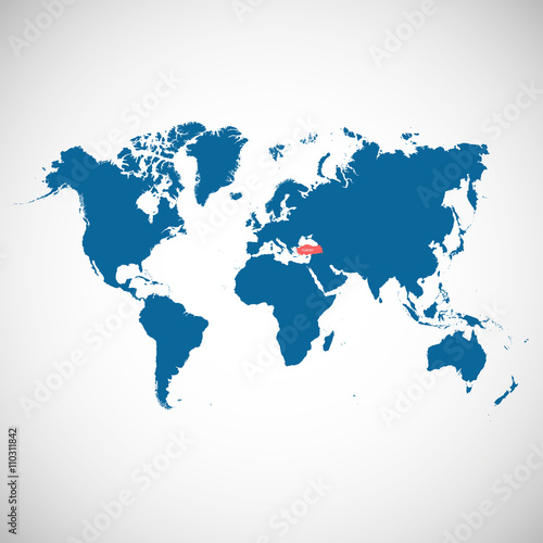 World map with marked country. Turkey. Vector illustration. - Buy ...