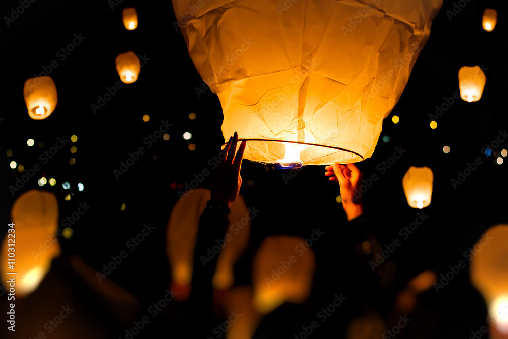 Fototapety, obrazy: Make A Wish, A chinese lantern with lots more in the background