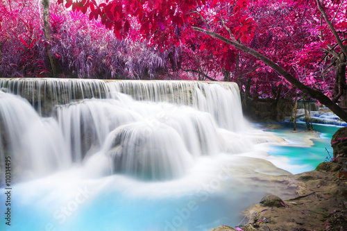 Aluminium Prints Waterfalls Turquoise water of Kuang Si waterfall, Luang Prabang. Laos