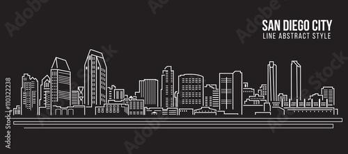 Cityscape Building Line art Projekt ilustracji wektorowych - miasto San Diego