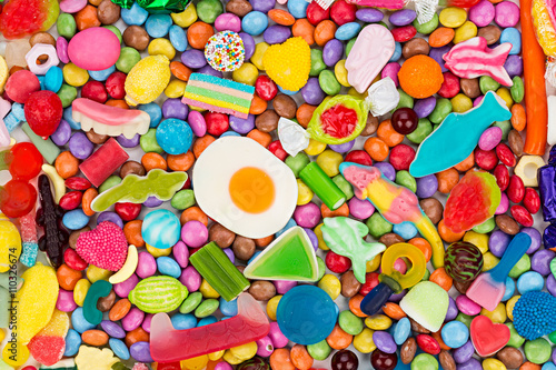 Poster Snoepjes colorful tasty sweets candy background / bunter süßwaren süßigkeiten hintergrund