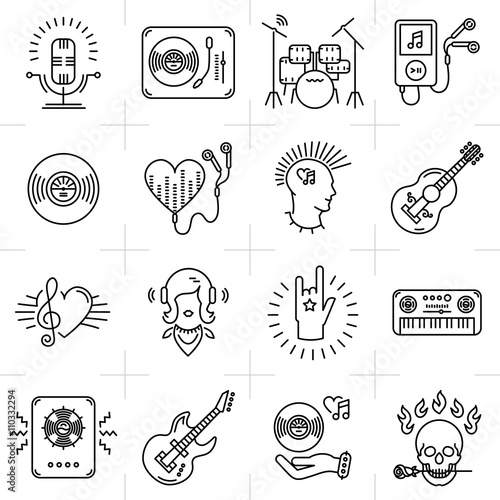 Photo  Thin lines music icons set