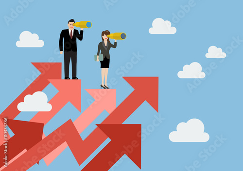 Fotografía  Business man and woman have a telescope standing on graph up