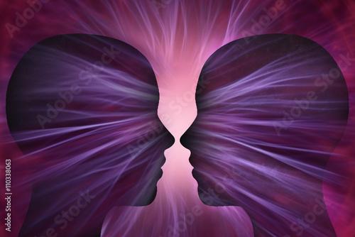 Photo Cabezas humanas con rayos de energía cósmica