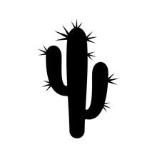 Black Cactus Plant Silhouette