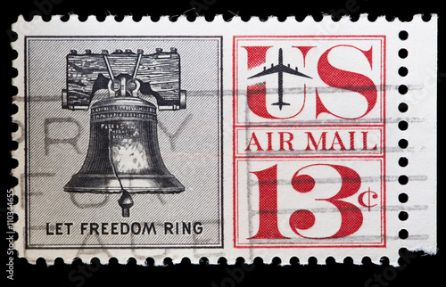 Fotografia  United States used postage stamp showing the Liberty Bell