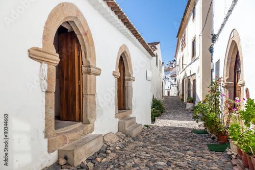 Photo Medieval Sephardic Synagogue (13th / 14th century) in the left in Castelo de Vide, Portalegre, Alto Alentejo, Portugal