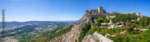 The Marvao Castle located on top of a cliff with a view over the Alto Alentejo landscape Wallpaper Mural